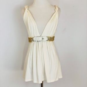 Sky Gold Belted Top